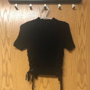 Express knit crop top with lace up details